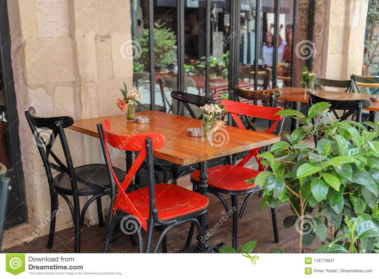 Tables And Chairs In Cafe Or Restaurants Outside Stock Image