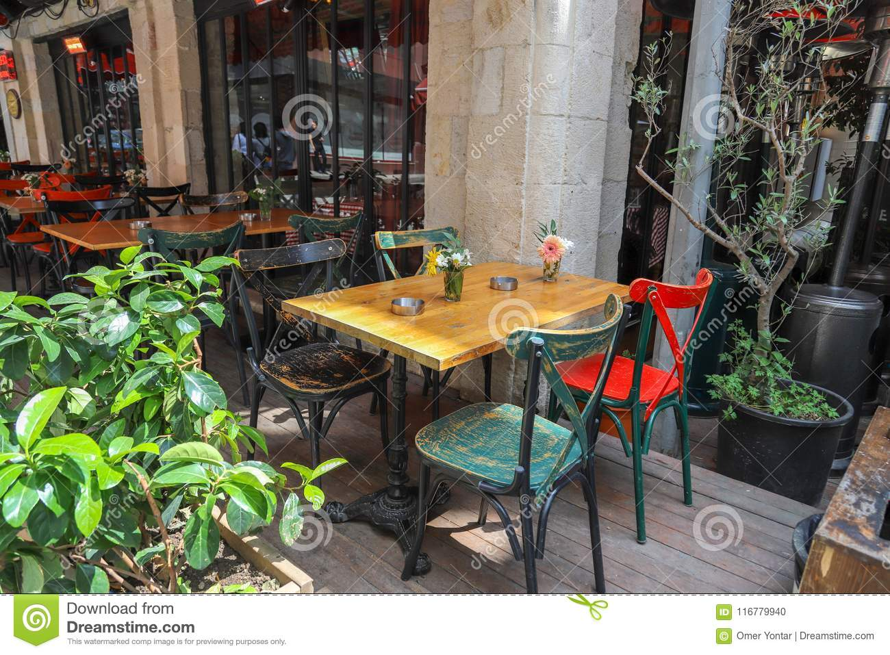 Tables And Chairs In Cafe Or Restaurants Outside Stock Photo