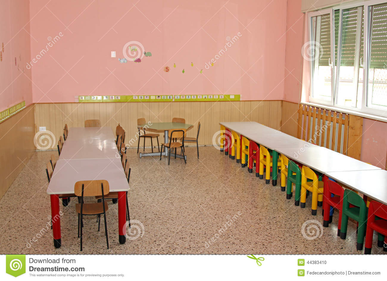 Tables And Chairs In The Dining Hall Of School Canteen A