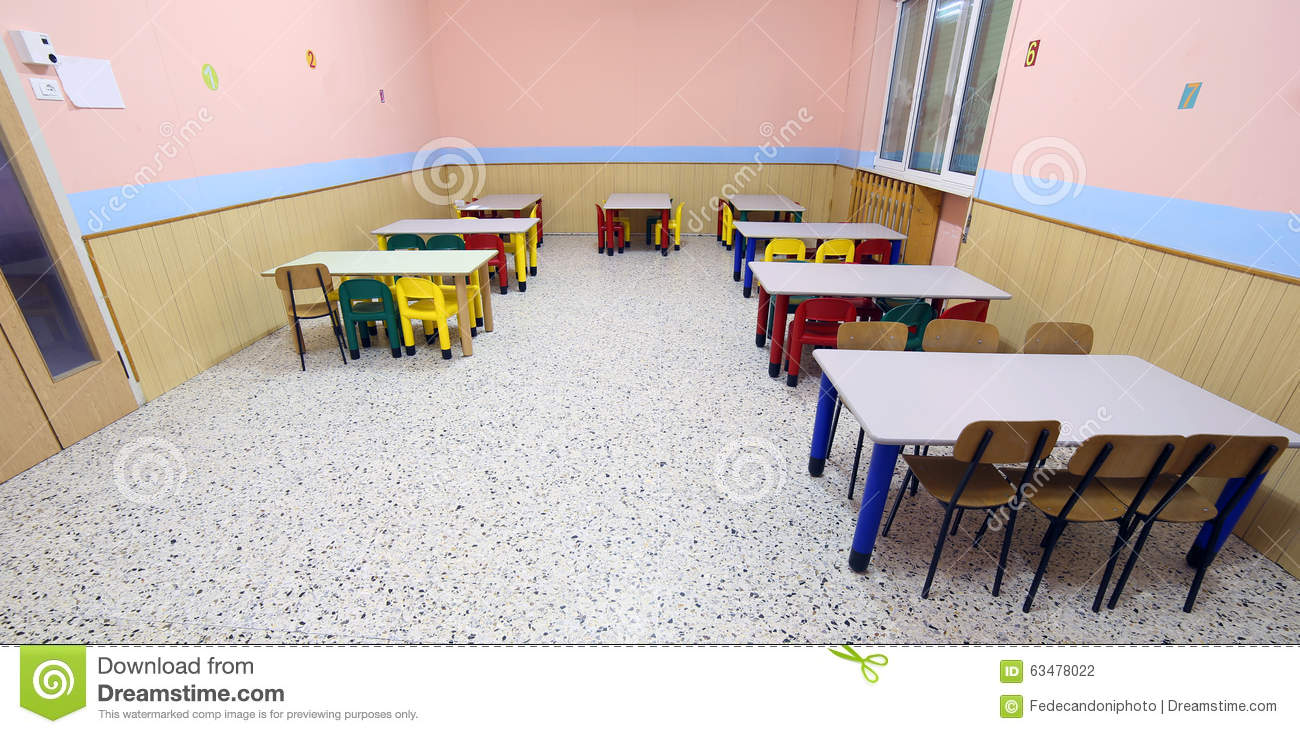 Tables And Chairs In The Dining Room Of The Nursery Canteen Stock - Nursery tables and chairs