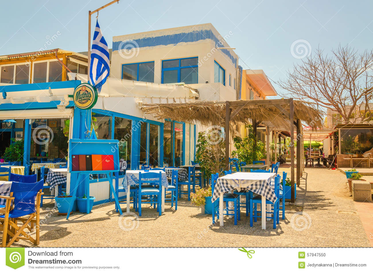 Tables and chairs in a greek restaurant greece editorial