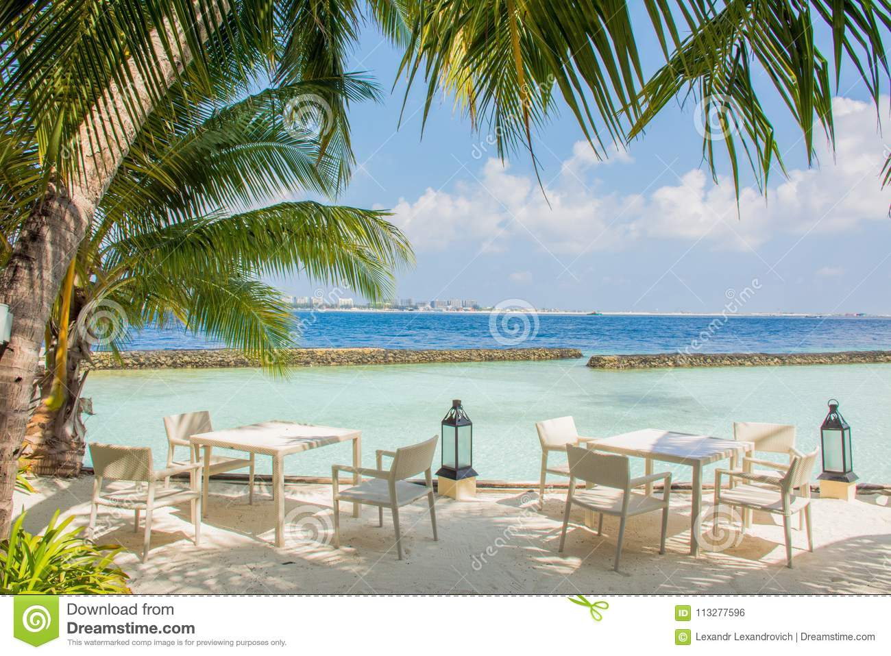 Tables And Chairs In The Luxury Outdoor Restaurant At The Tropical Island Stock Photo Image Of Luxury Trees 113277596