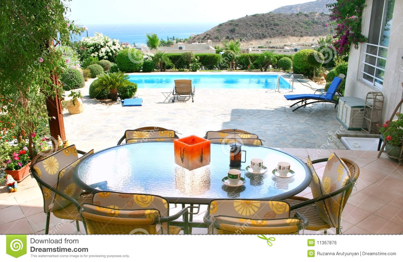 Tables And Chairs Near The Pool Royalty Free Stock Image Image 11367876