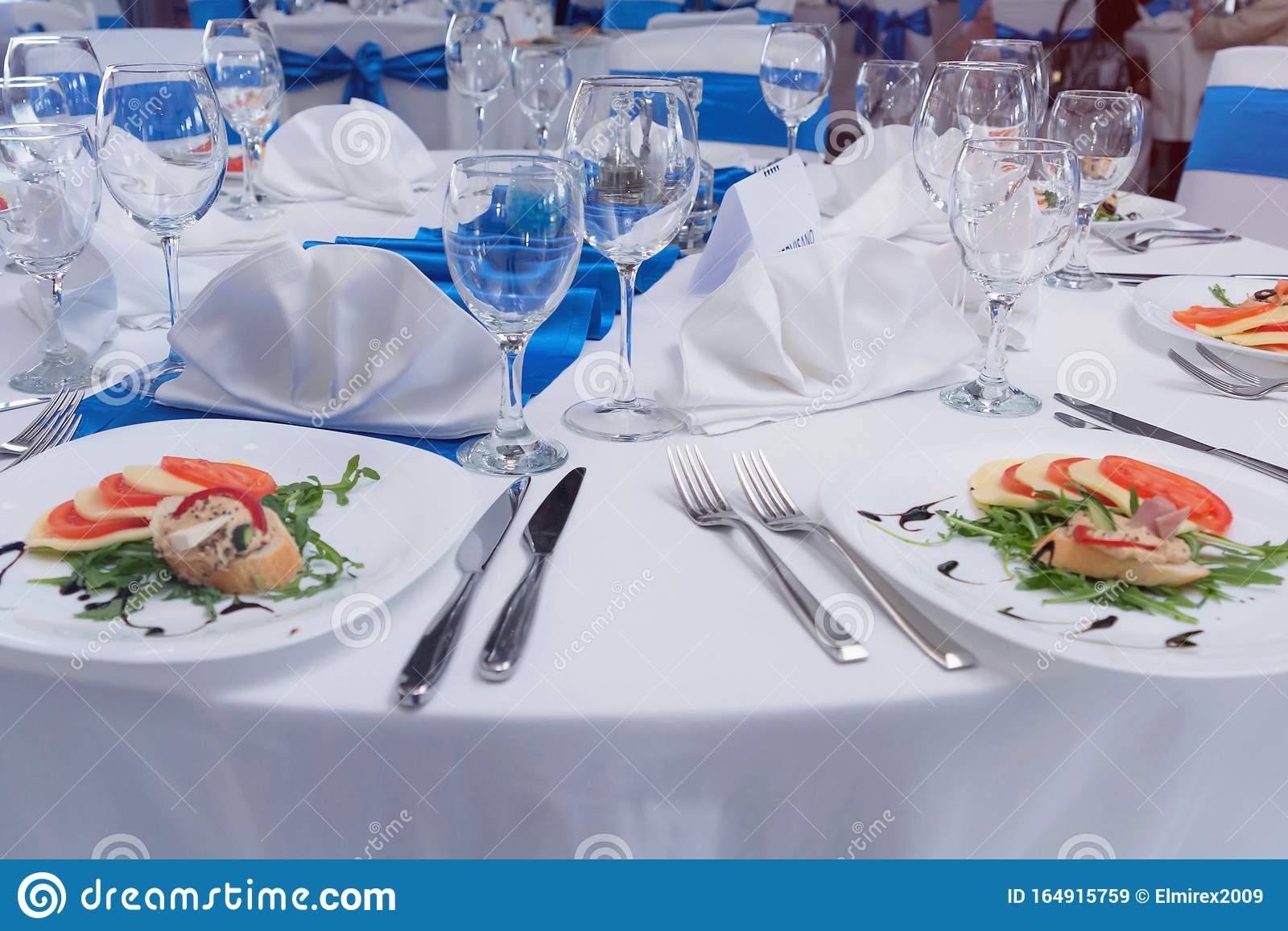Tables And Chairs In The Restaurant With Food And Full Set Preparation For Dinner Romantic Dinner Table Setup Stock Image Image Of Detail Interior 164915759