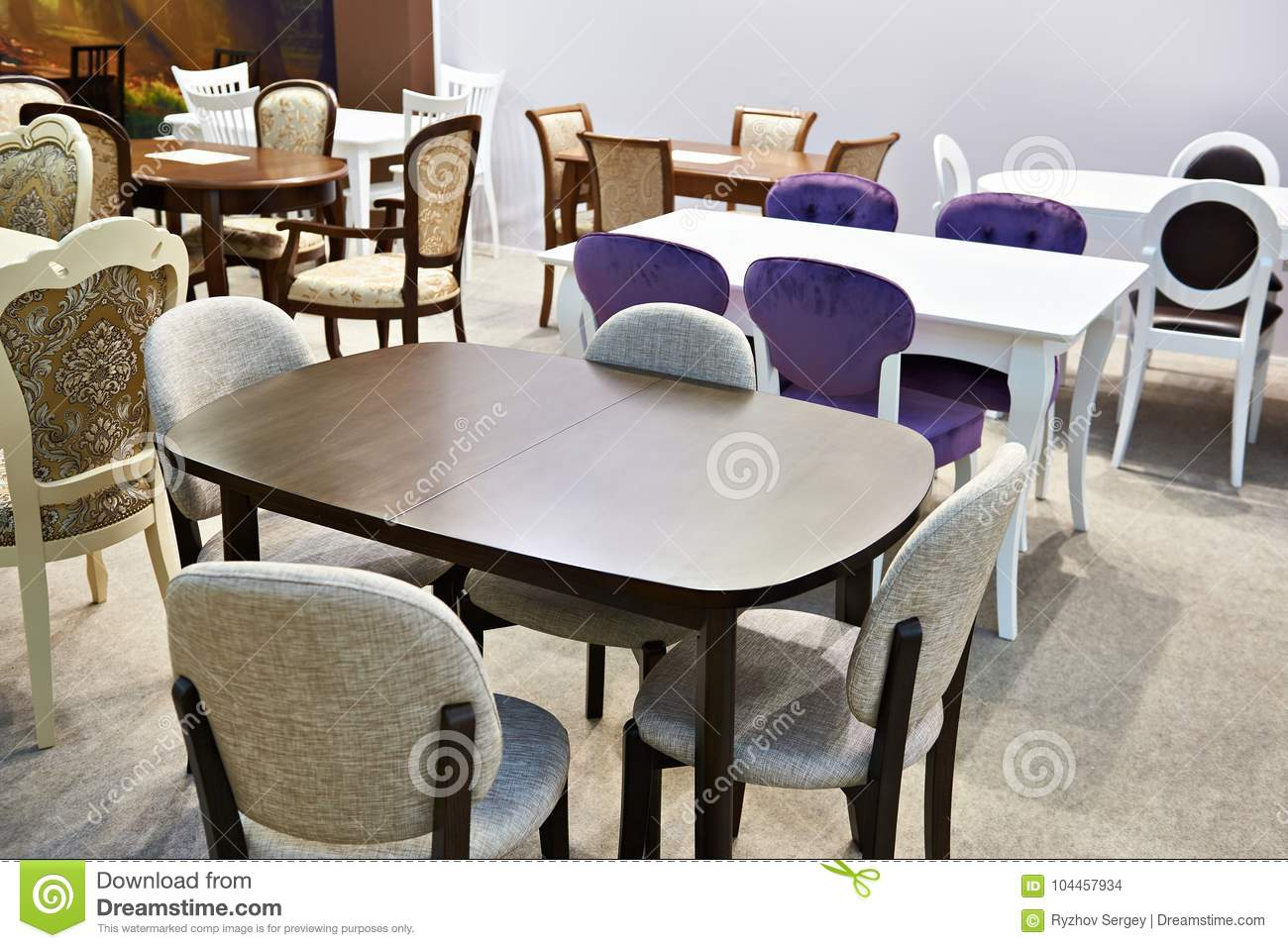 Tables And Chairs For Sale In Store Stock Photo Image Of Chair Wooden 104457934