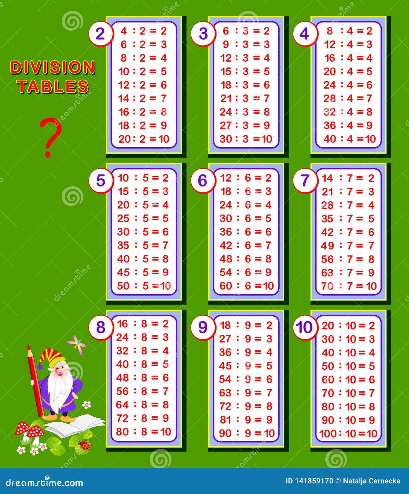 Tables De Division Pour De Petits Enfants Page Educative Pour Le