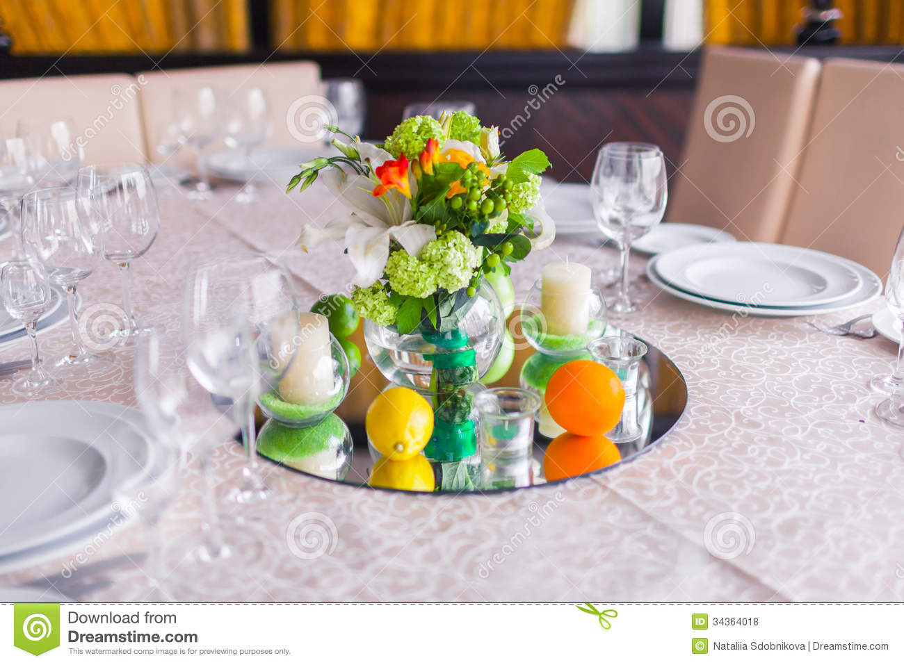 Decorated Tables Tables Decorated With Flowers Royalty Free Stock Photos  Image