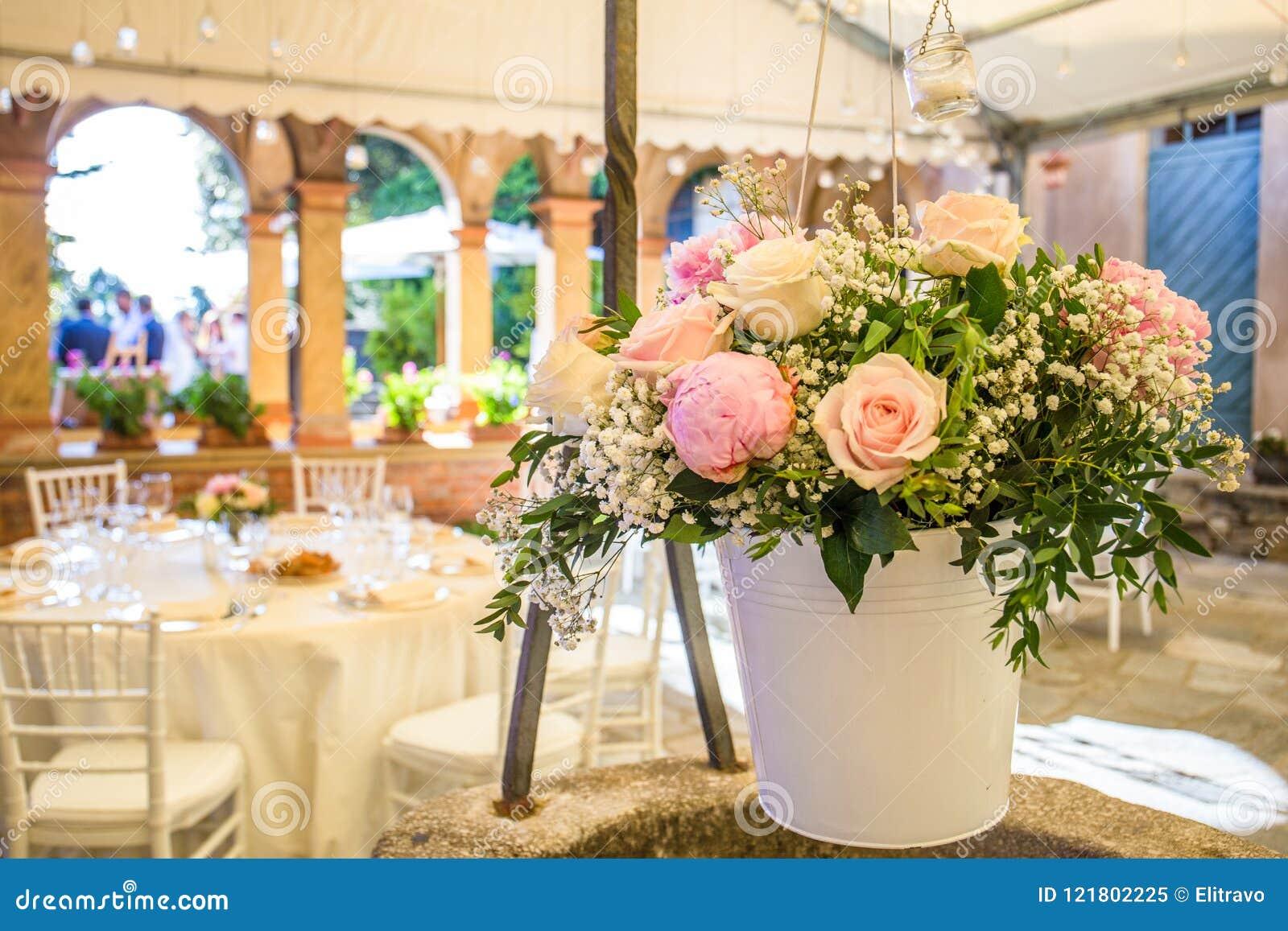 Beautiful Wedding Reception Outdoor In The Garden Stock Image