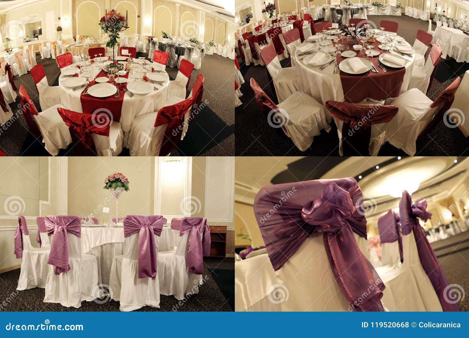 Tables in a wedding ballroom, multicam, screen split in four parts, grid 2x2