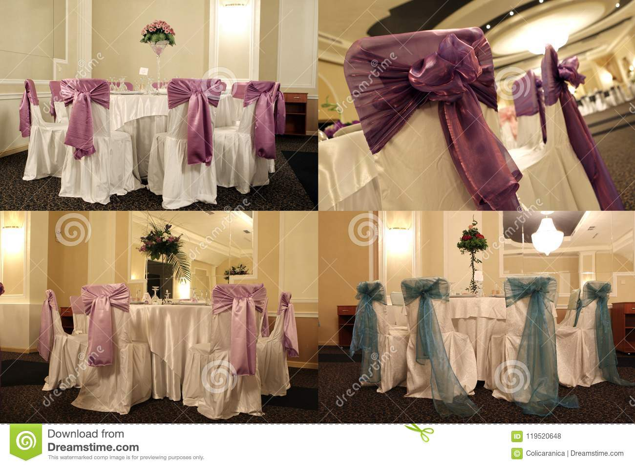 Tables in a wedding ballroom, multicam, screen split in four parts