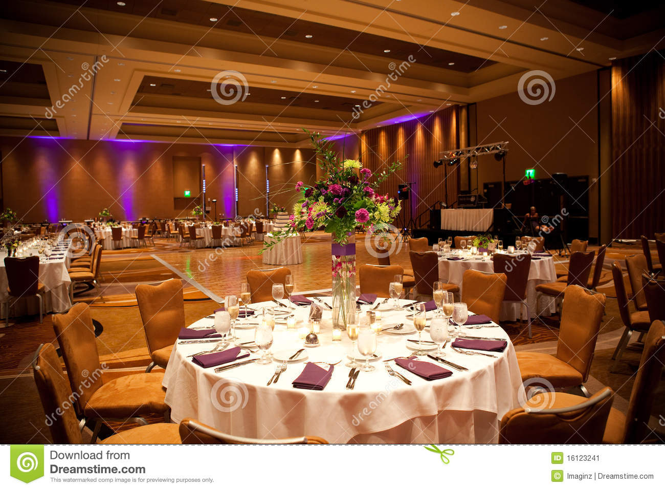 Indoor Wedding Venue Royalty Free Stock Photo: Tables At Wedding Reception Stock Image