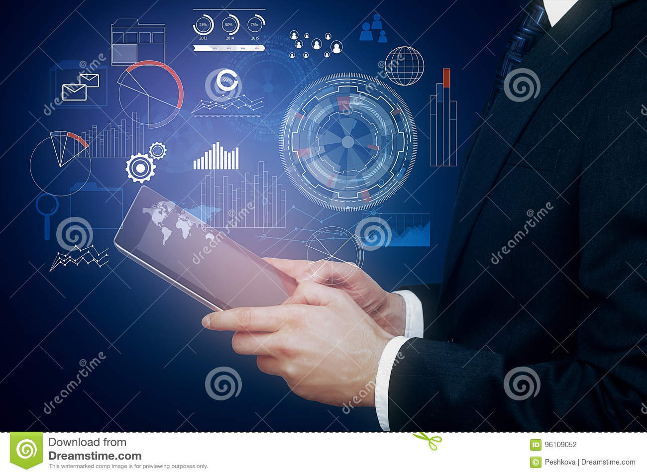 Tablet With Abstract Business Hologram Stock Photo - Image of