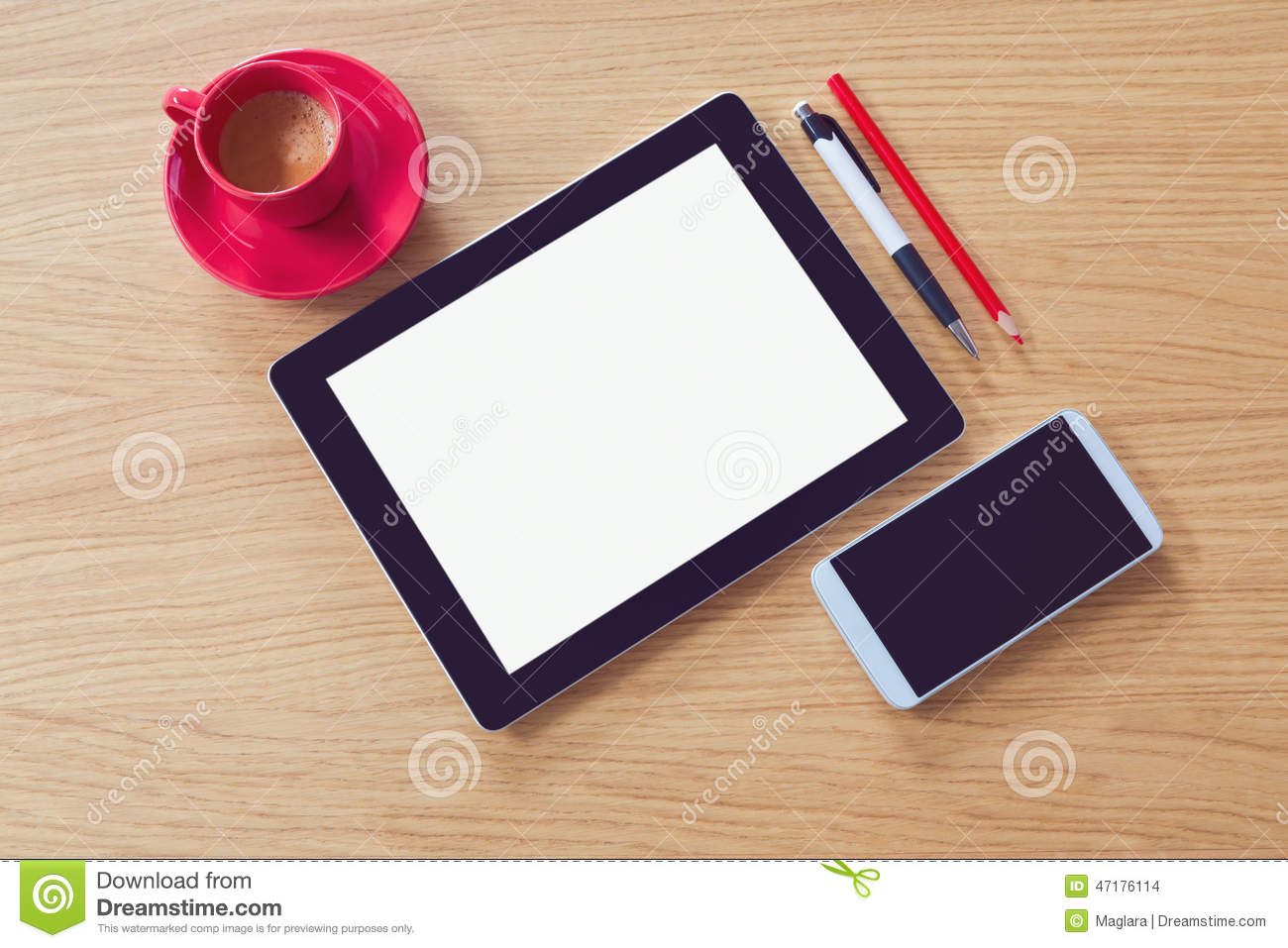 Tablet with blank screen on wooden table. Office desk mock up. View