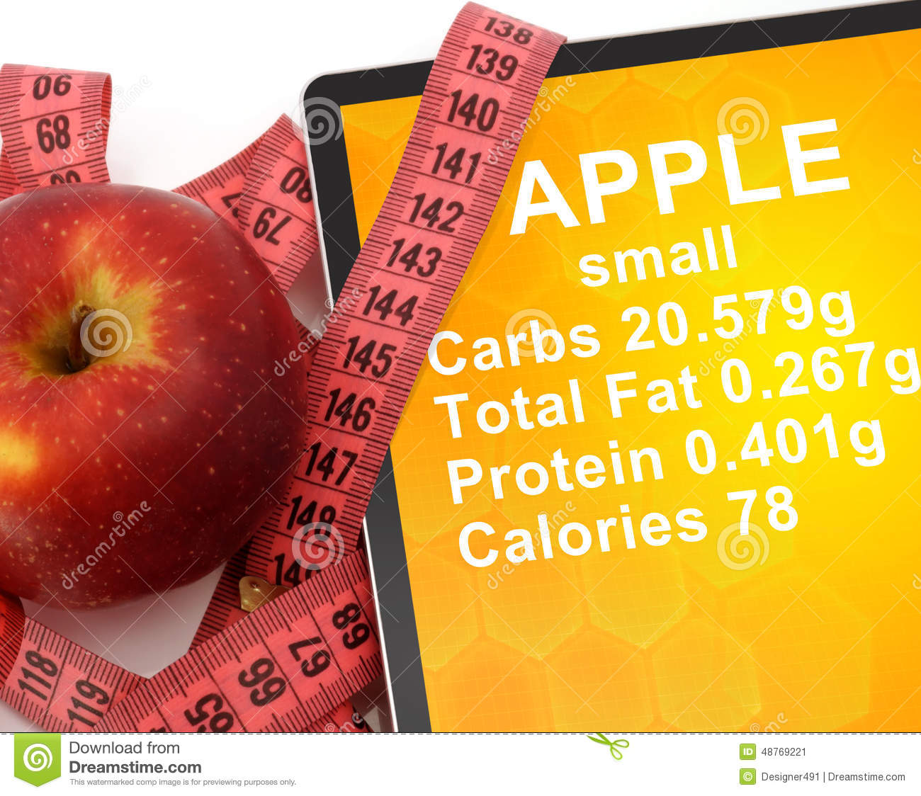Tablet with Calories In Apple