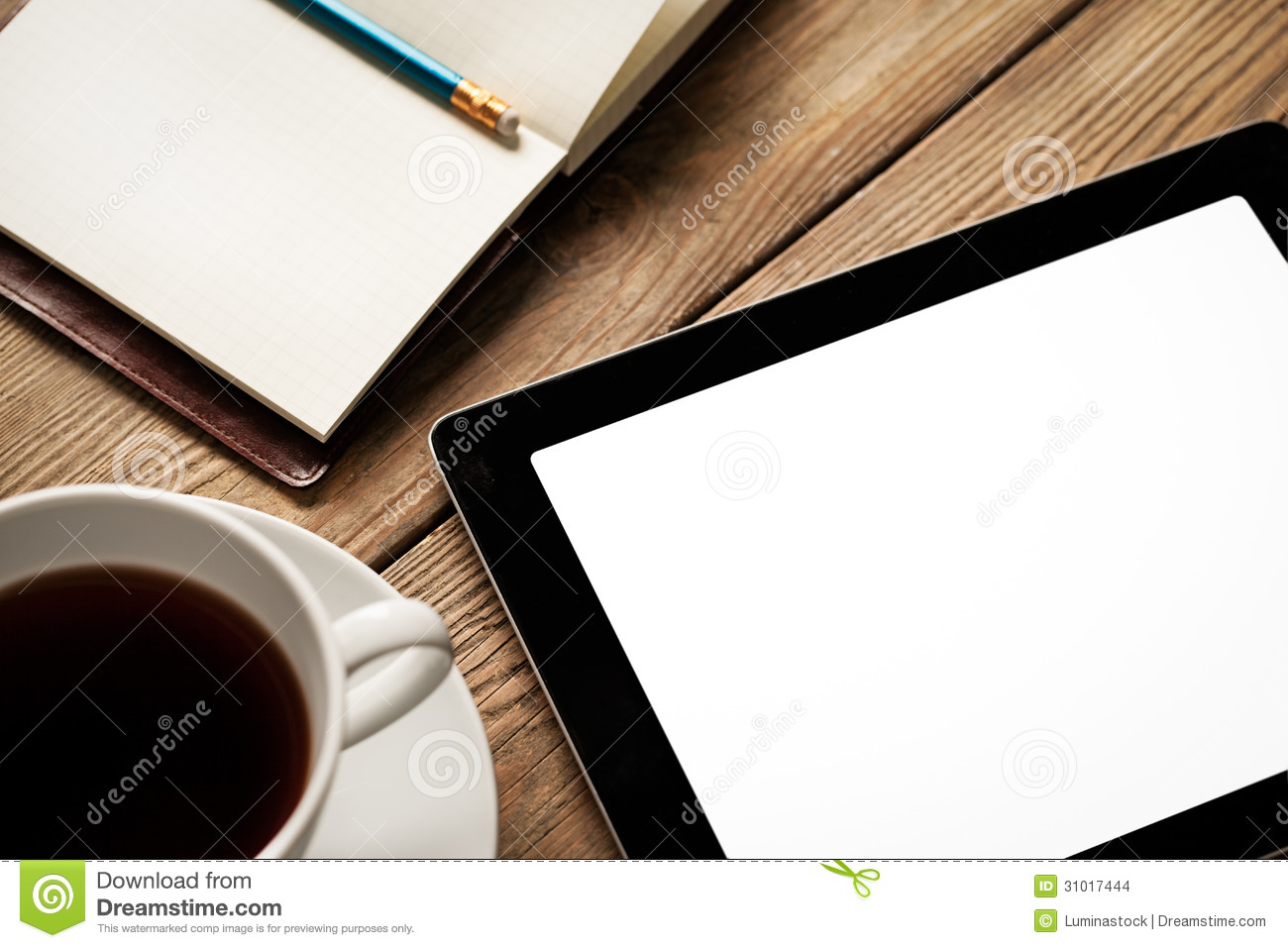 Tablet Coffee And Agenda Stock Images Image 31017444
