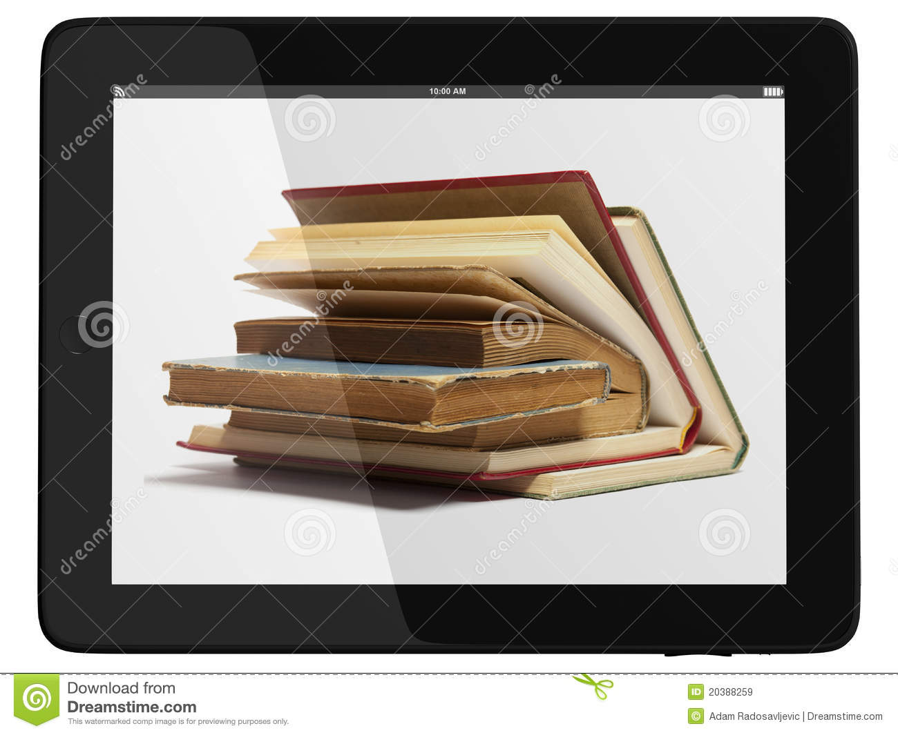 Tablet Computer And Book - Digital Library Concept Stock
