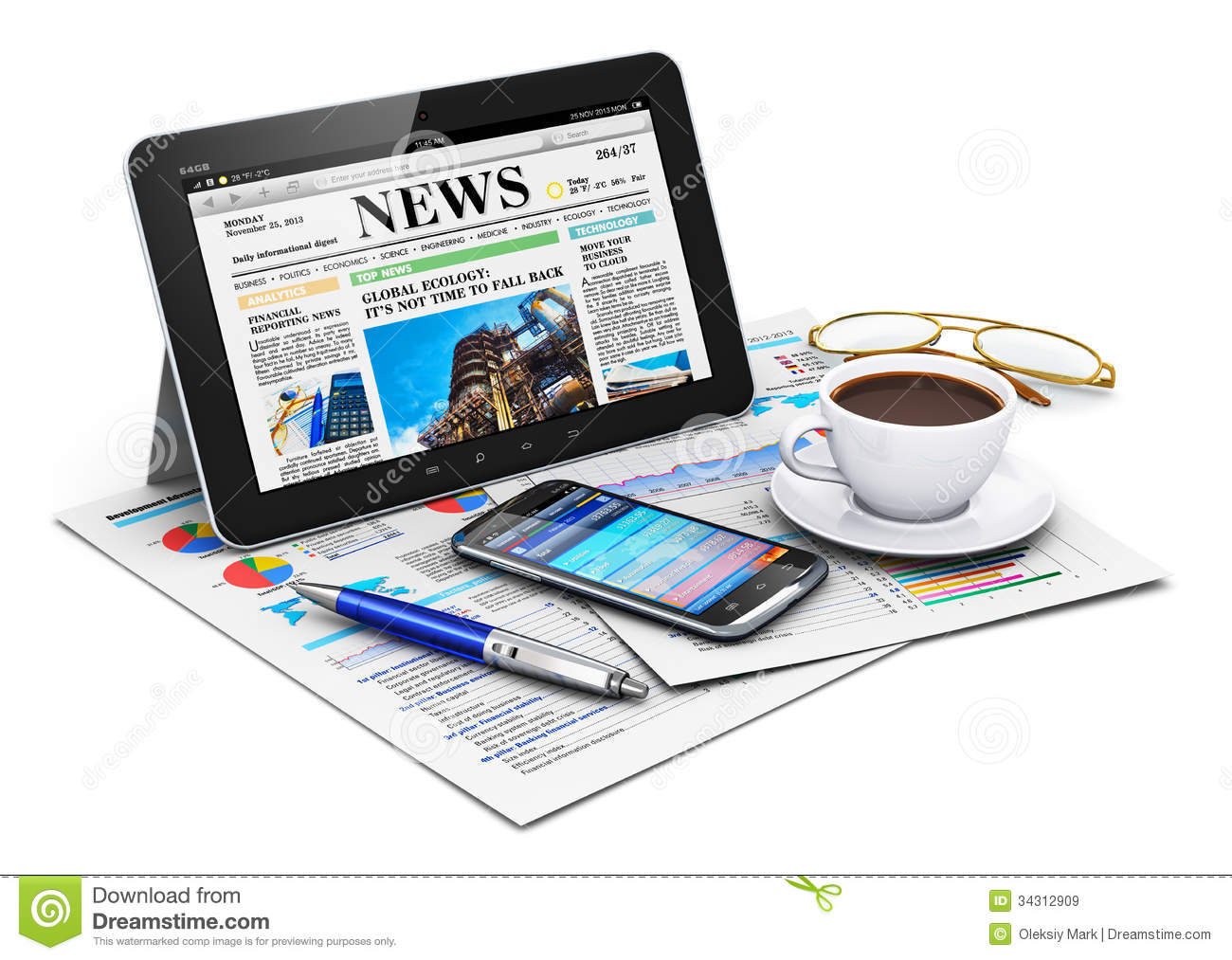 tablet computer and business objects royalty free stock images   image