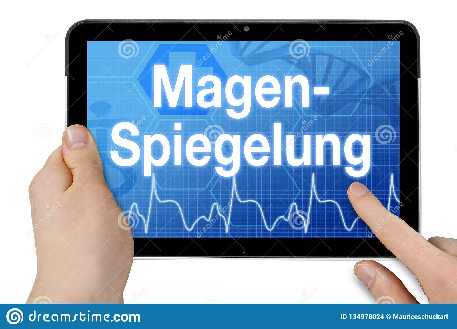 Tablet computer with the german word for gastroscopy - Magenspiegelung