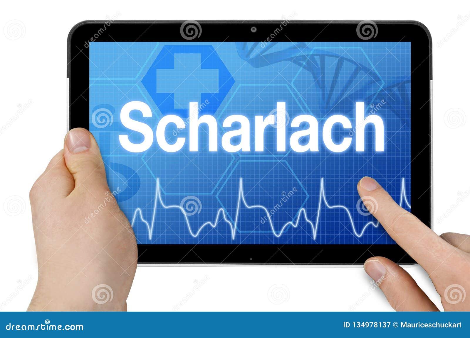 Tablet-Computer mit dem deutschen Wort für Scharlach - Scharlach