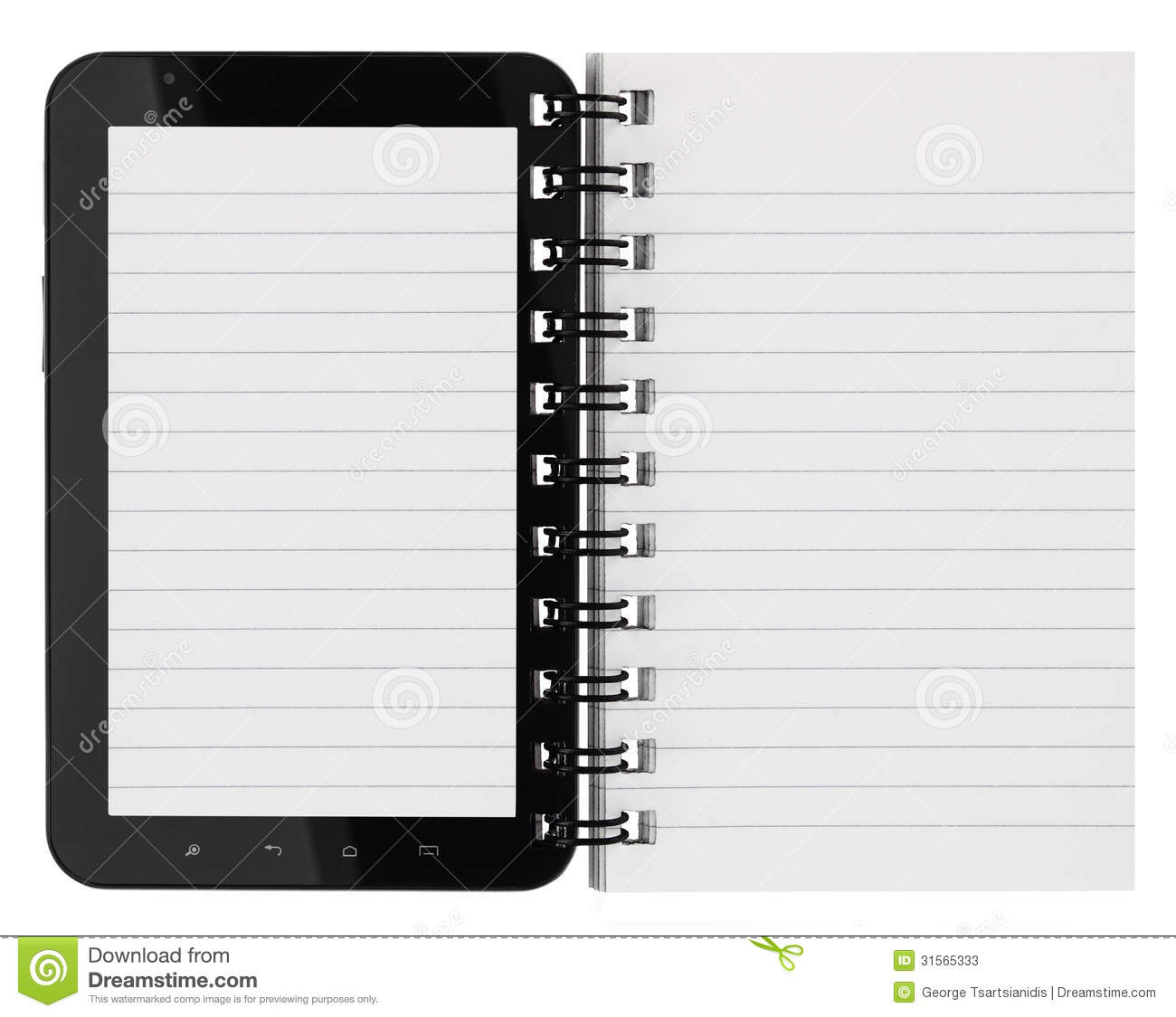 Tablet Computer With Notebook Pages Stock Photos - Image: 31565333