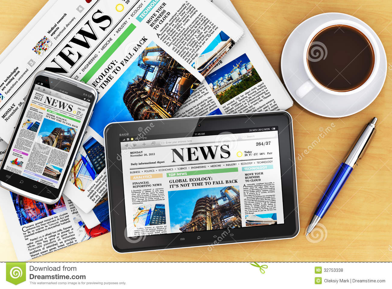 Tablet Computer Smartphone And Newspapers Royalty Free