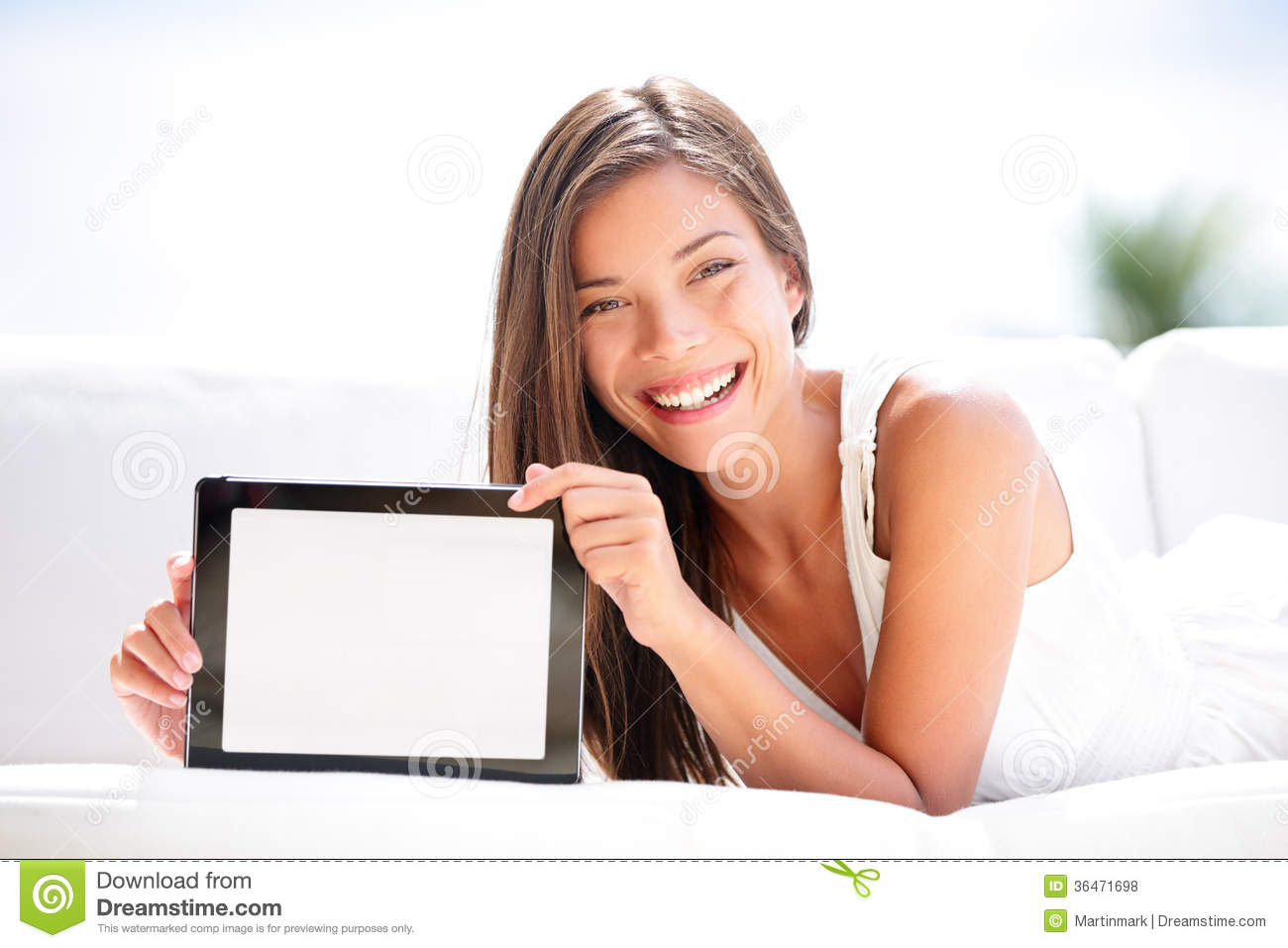 Tablet Computer Woman Showing Blank Screen Happy Royalty