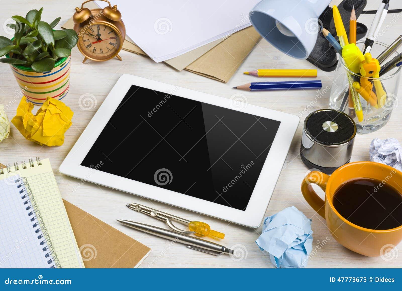 office desk work. Computer Desk Mess Office Tablet Work