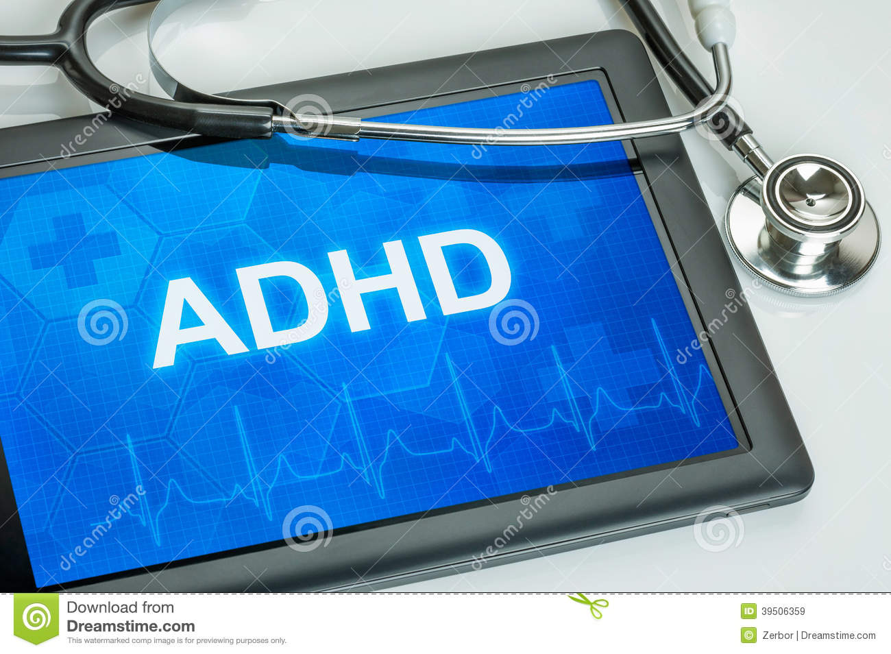 Tablet with the diagnosis adhd
