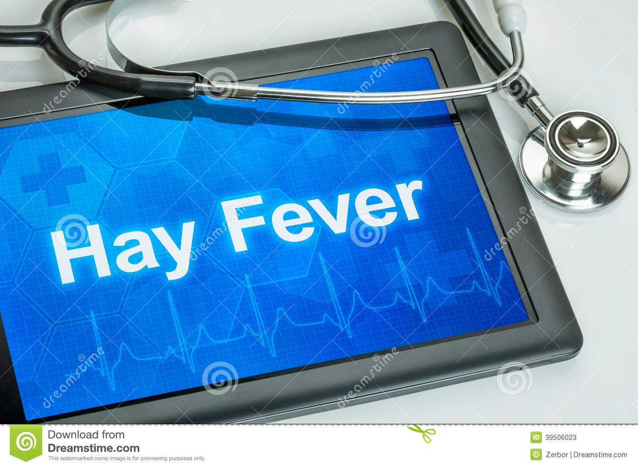 Tablet with the diagnosis hay fever