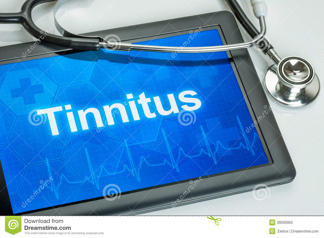 Tablet with the diagnosis tinnitus