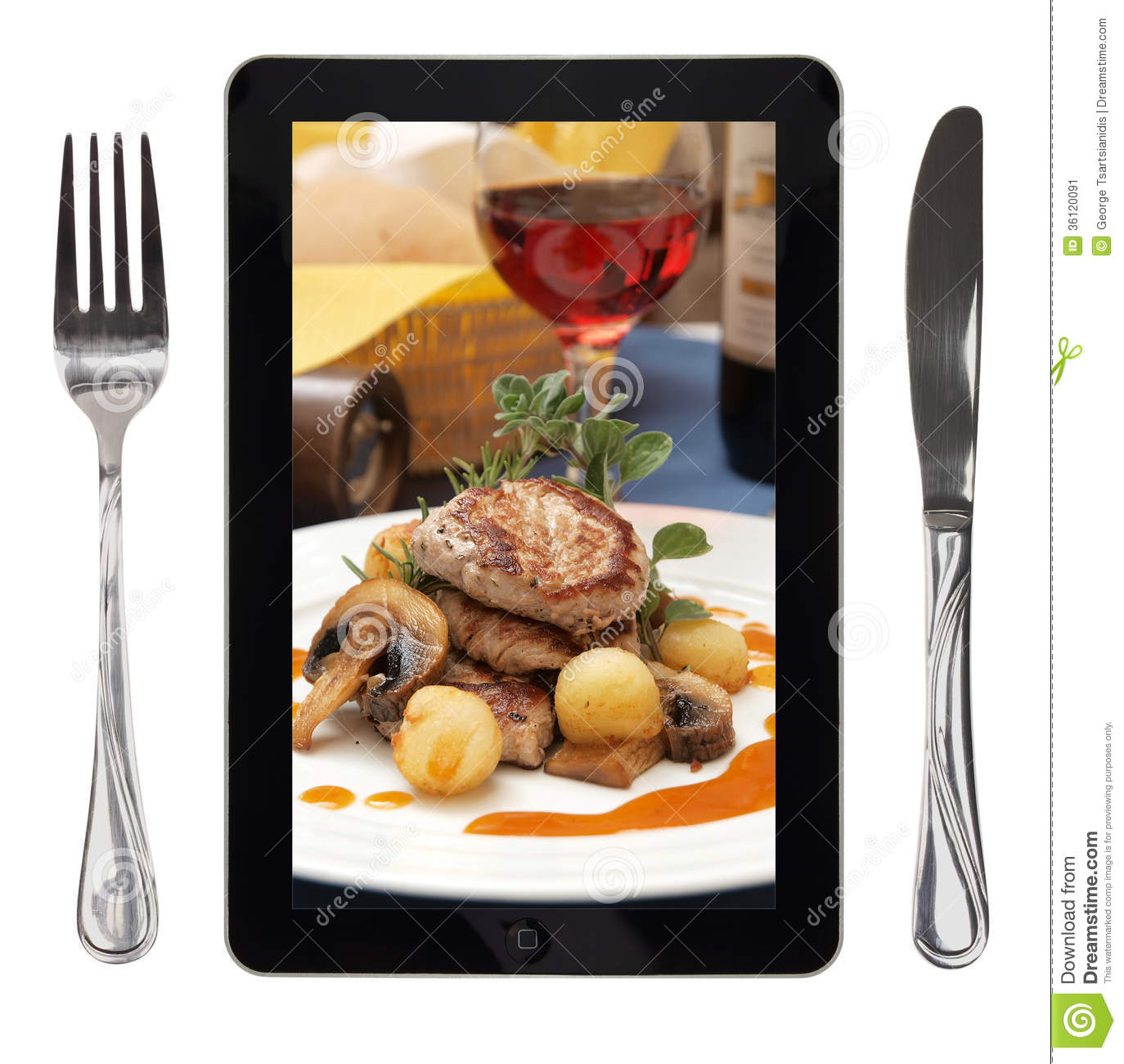Tablet with food photo