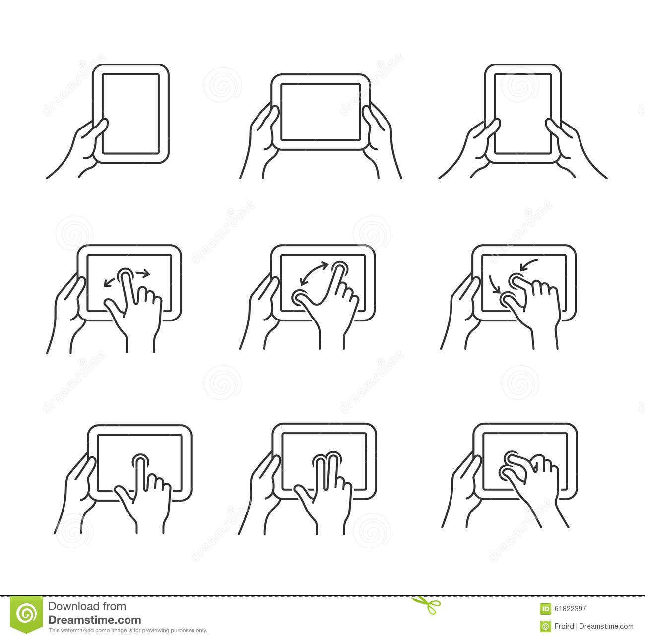 Tablet gesture icons stock vector image 61822397 for Vector canape user manual