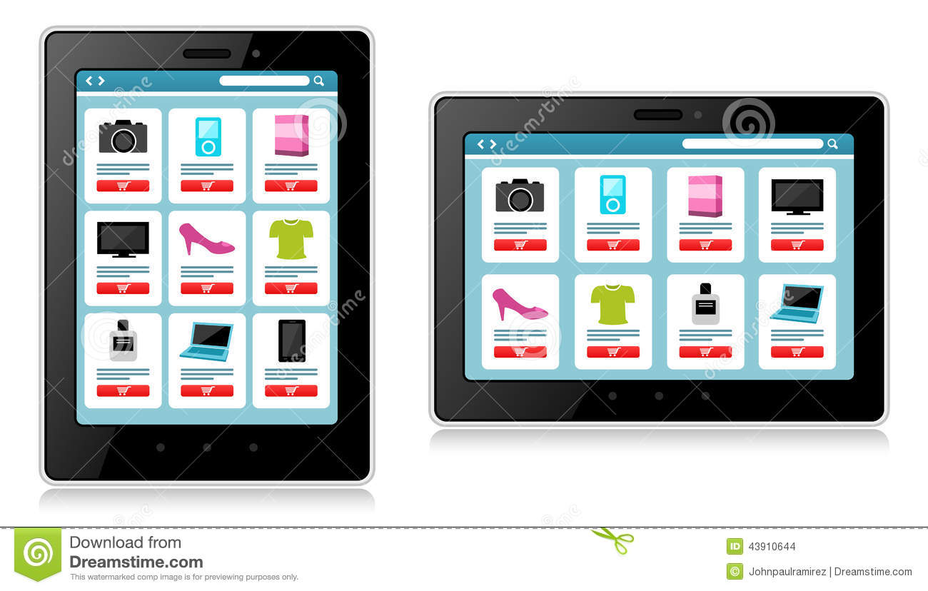 Tablet mobile device online shopping stock vector for Onlineshop fur mobel