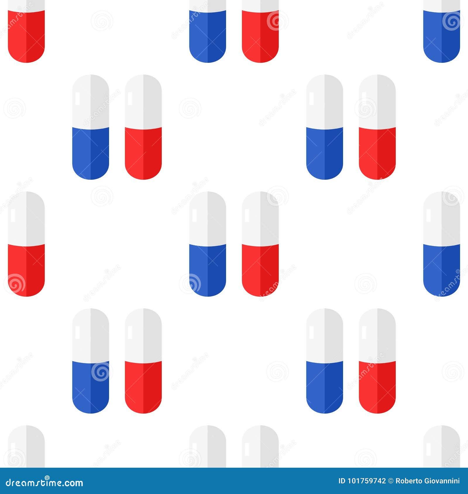 Tablet-oder Pillen-flache Ikonen-nahtloses Muster