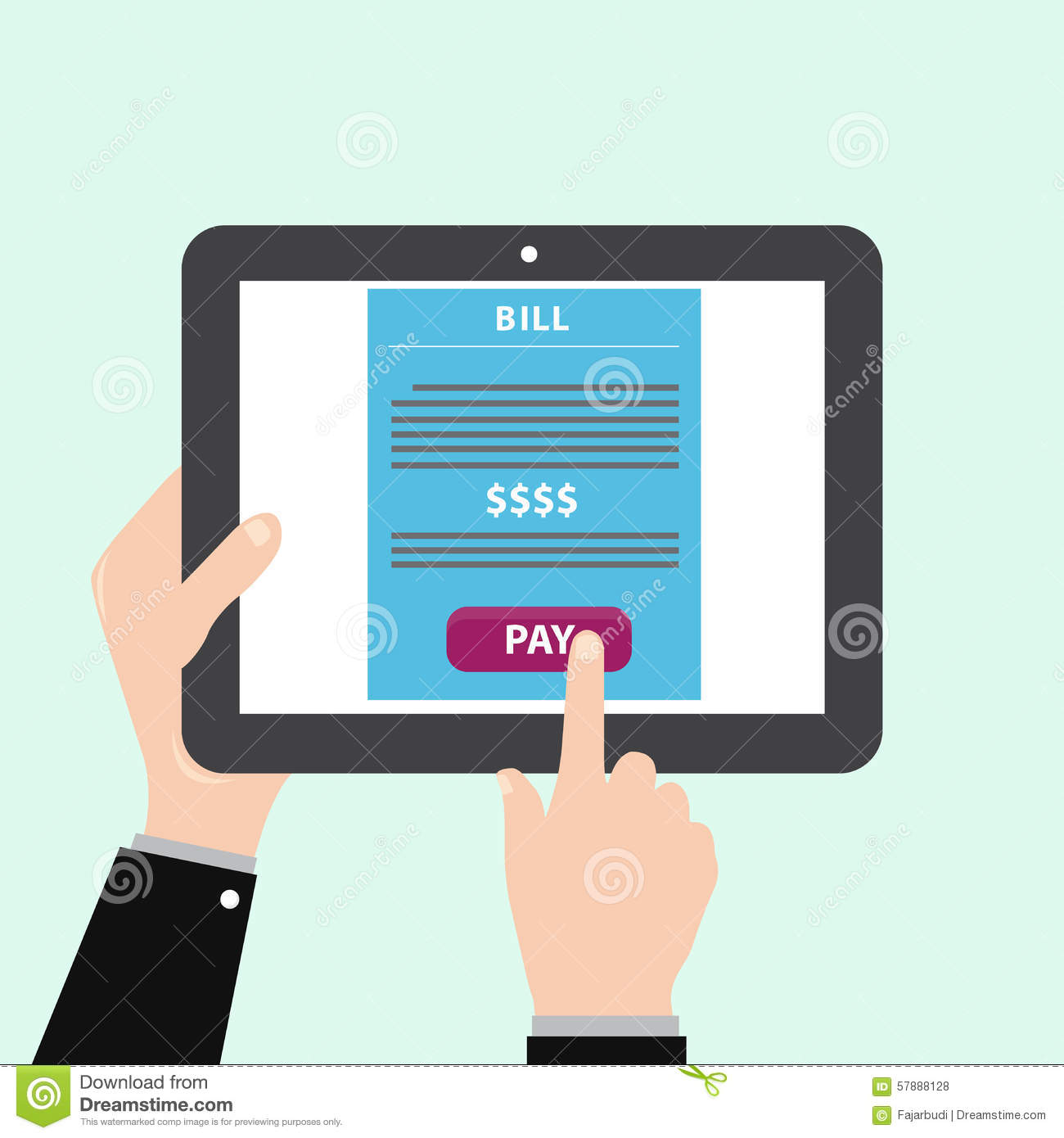 tablet with online payment stock illustration image