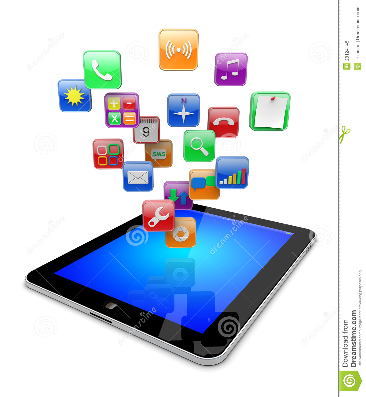 Tablet Pc Apps Icons Stock Illustration Image Of Symbol