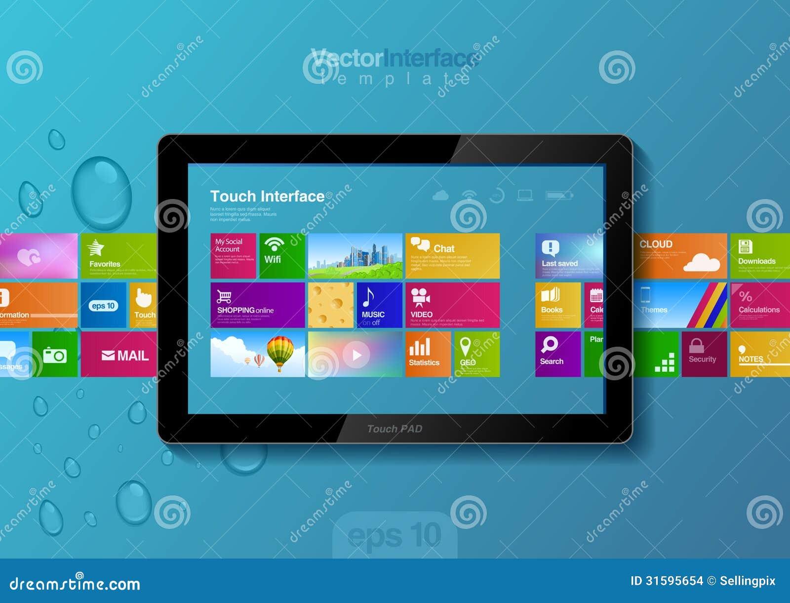 tablet pc interface website design template stock vector. Black Bedroom Furniture Sets. Home Design Ideas