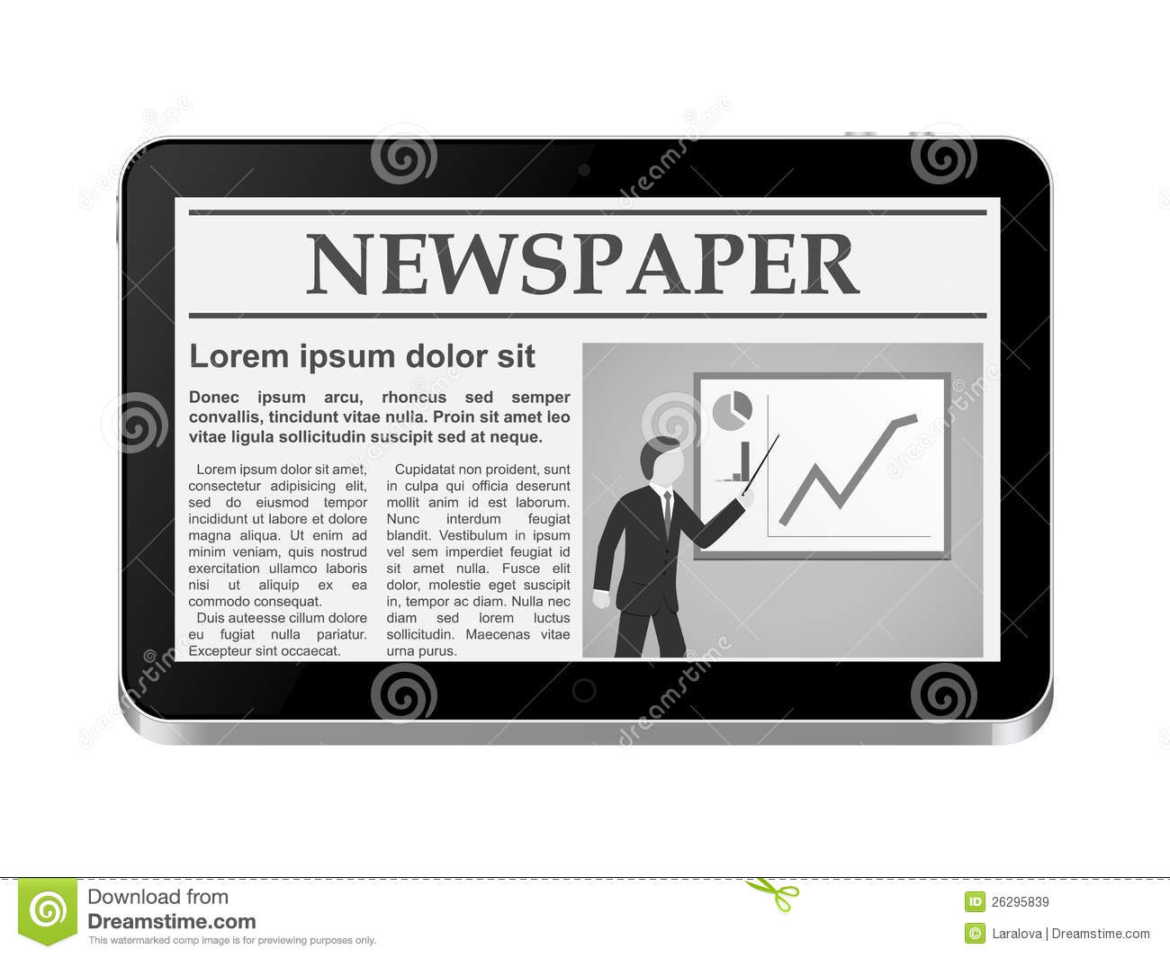 tablet pc with online newspaper royalty free stock images