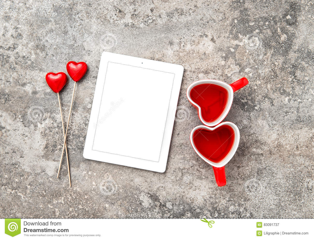 Tablet PC Red Heart Decoartion Tea Cups Valentines Day Stock
