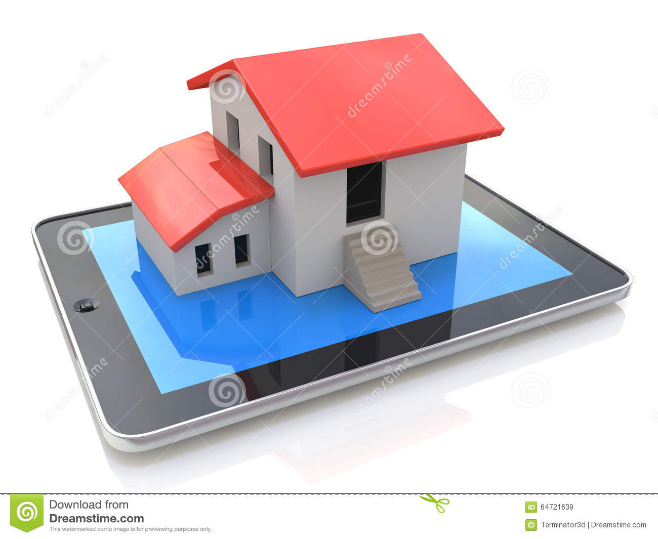 Tablet pc with simple house model on display 3d illustration stock illustration