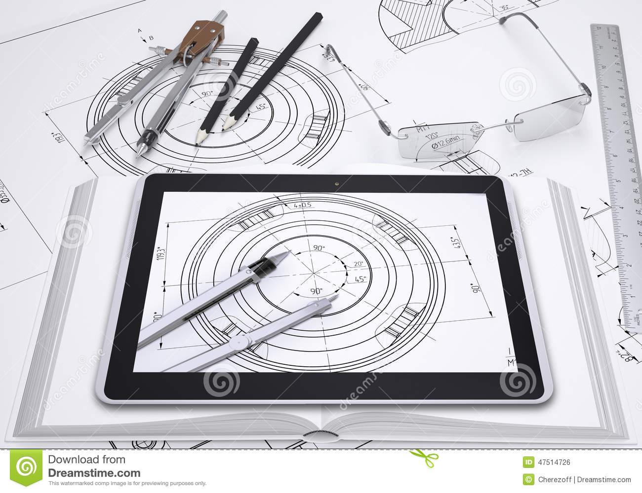 Tablet pc some draftsmans instruments and stock photo image of download comp malvernweather Images