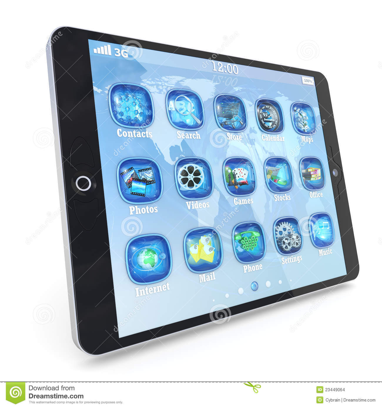 Tablet pc touchpad with 3d applications stock images 3d application