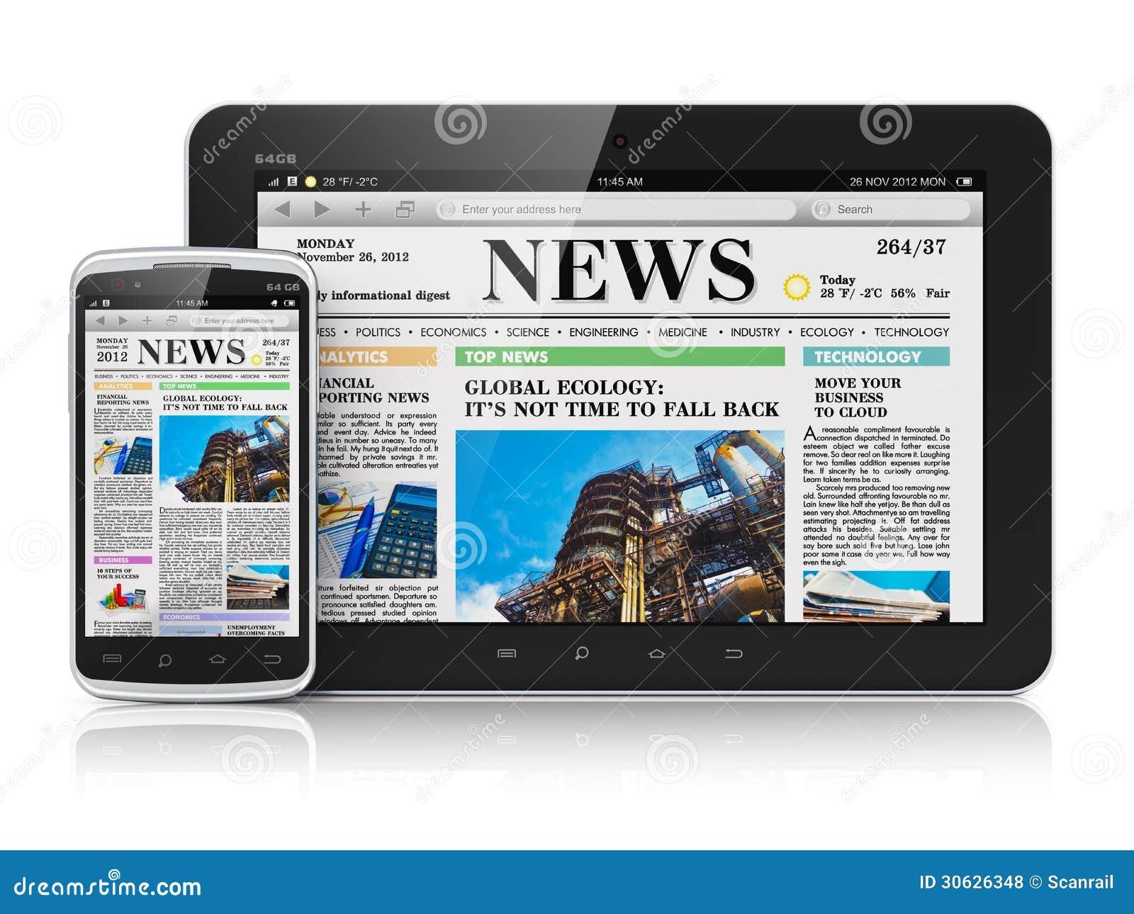 Tablet PC y smartphone con noticias de negocio