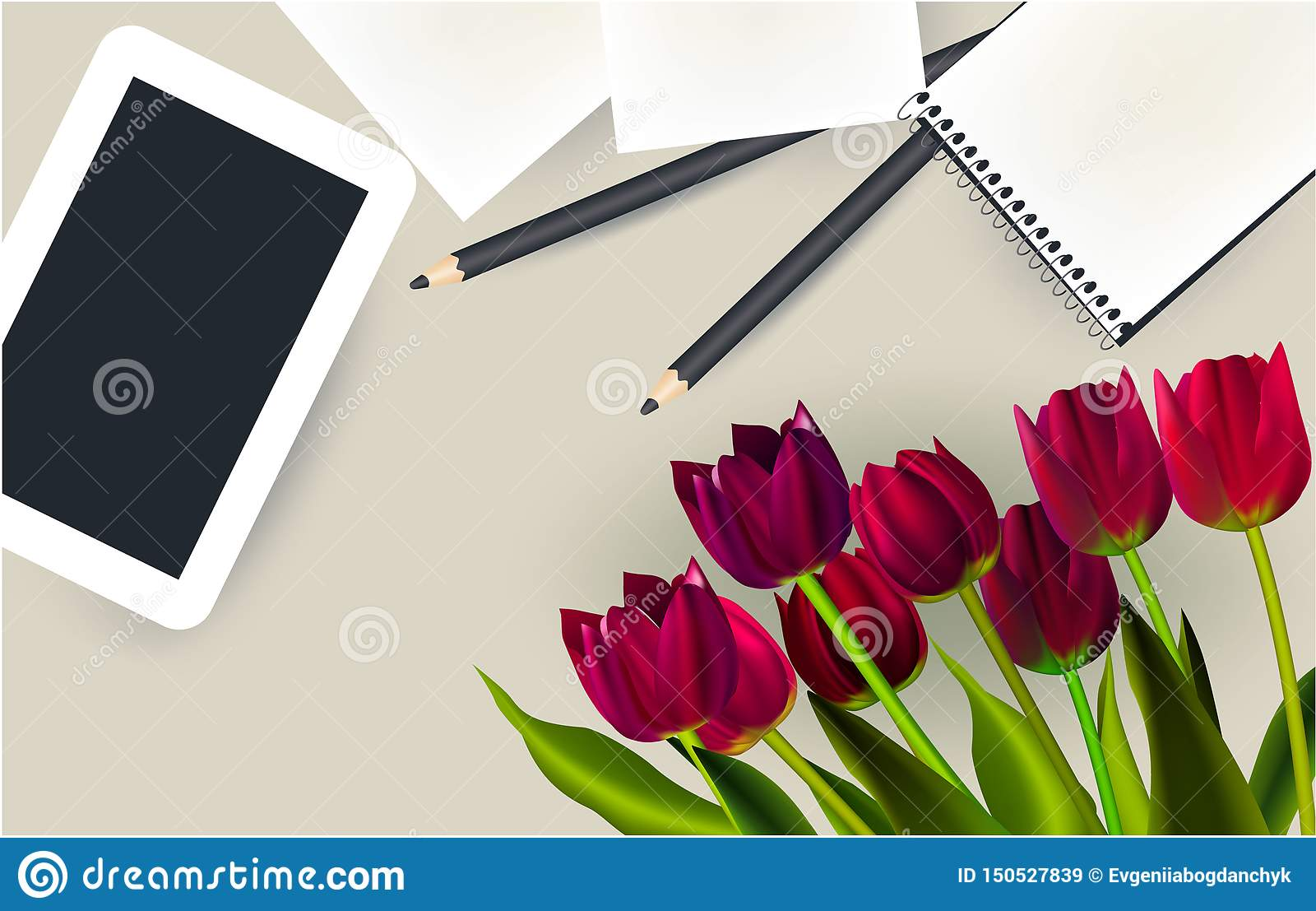 Tablet, pencil, tulips, top view table work