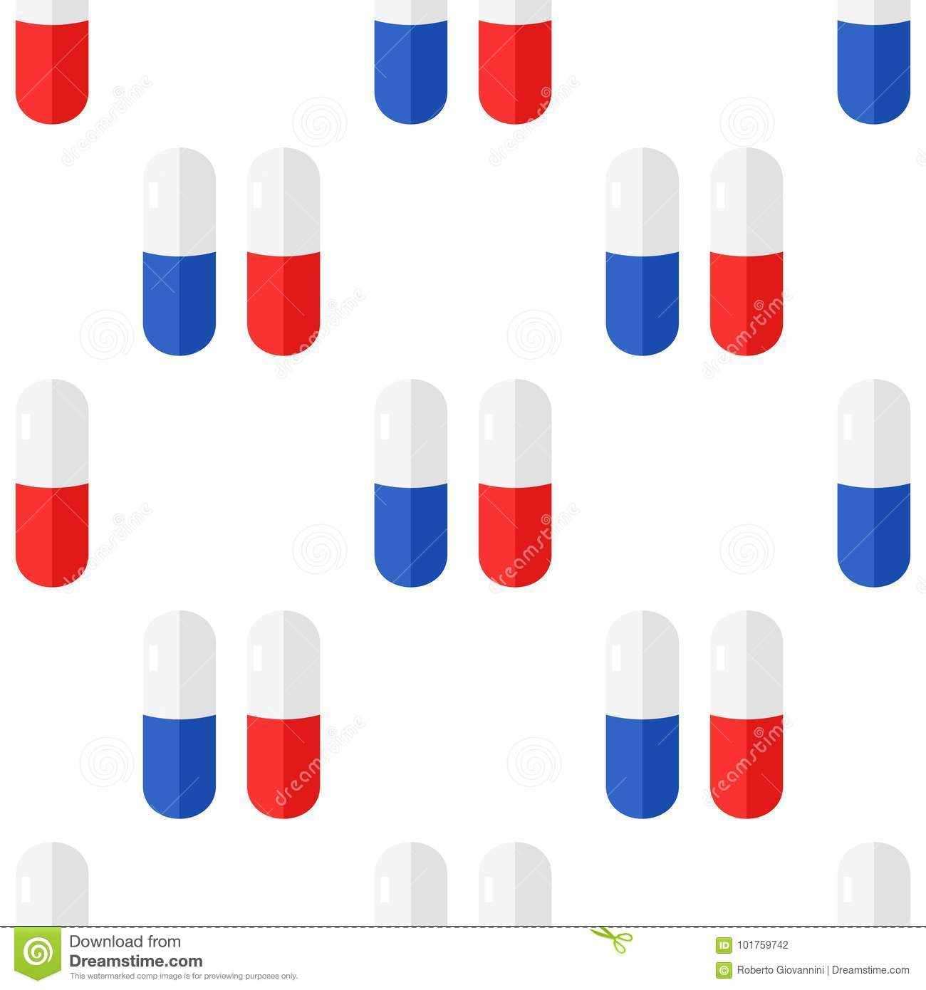 Tablet or Pill Flat Icon Seamless Pattern