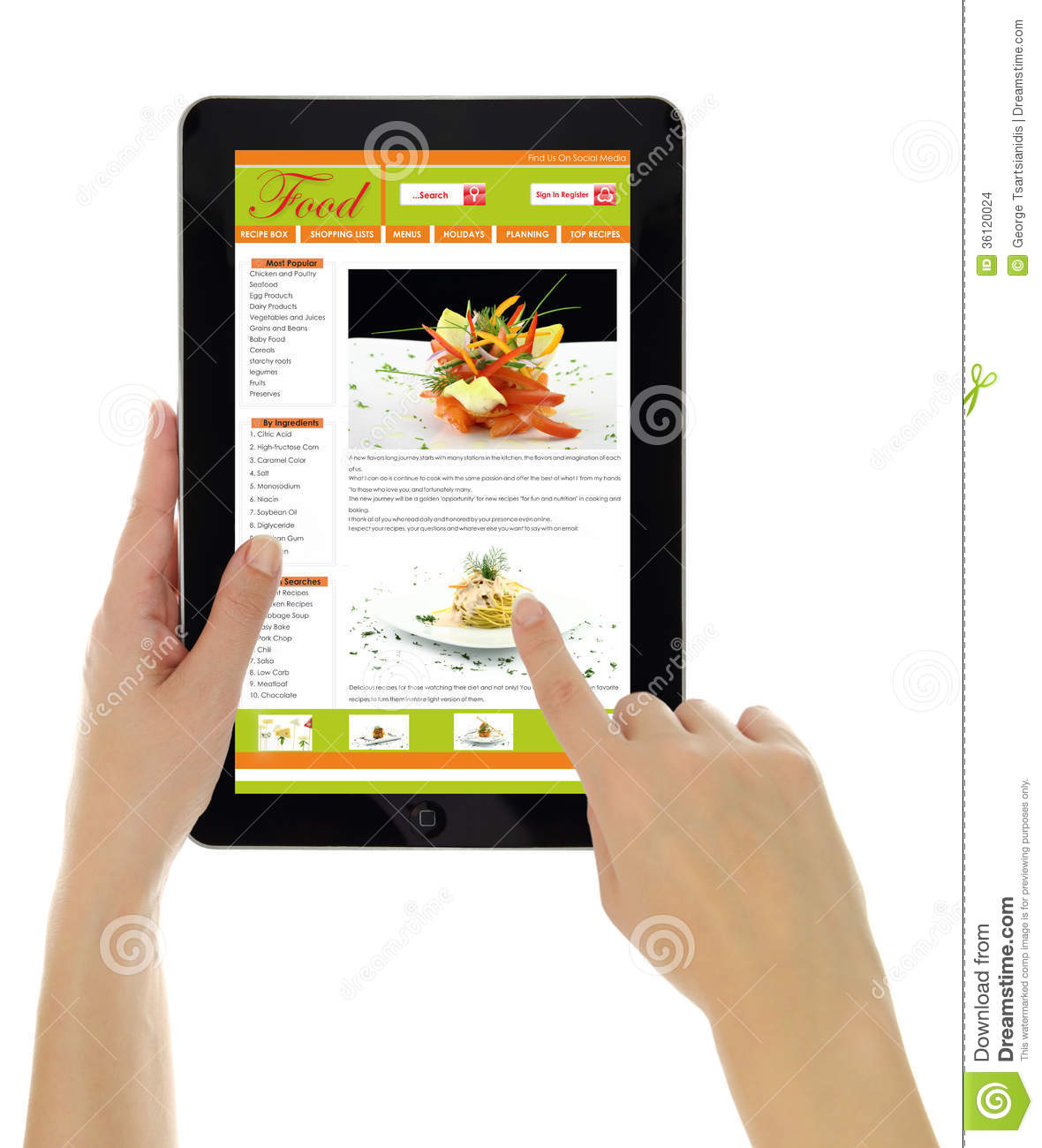 Tablet With Recipe Website Template Isolated Editorial