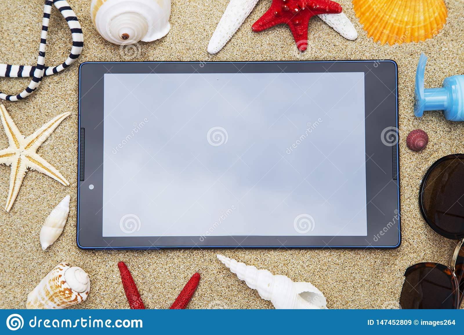 Tablet with the seashells