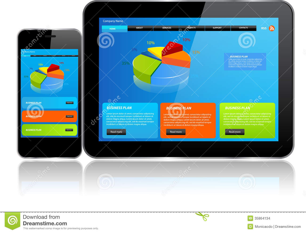 Tablet and Smartphone.Responsive website template on multiple devices.: www.dreamstime.com/stock-images-tablet-smartphone-responsive...