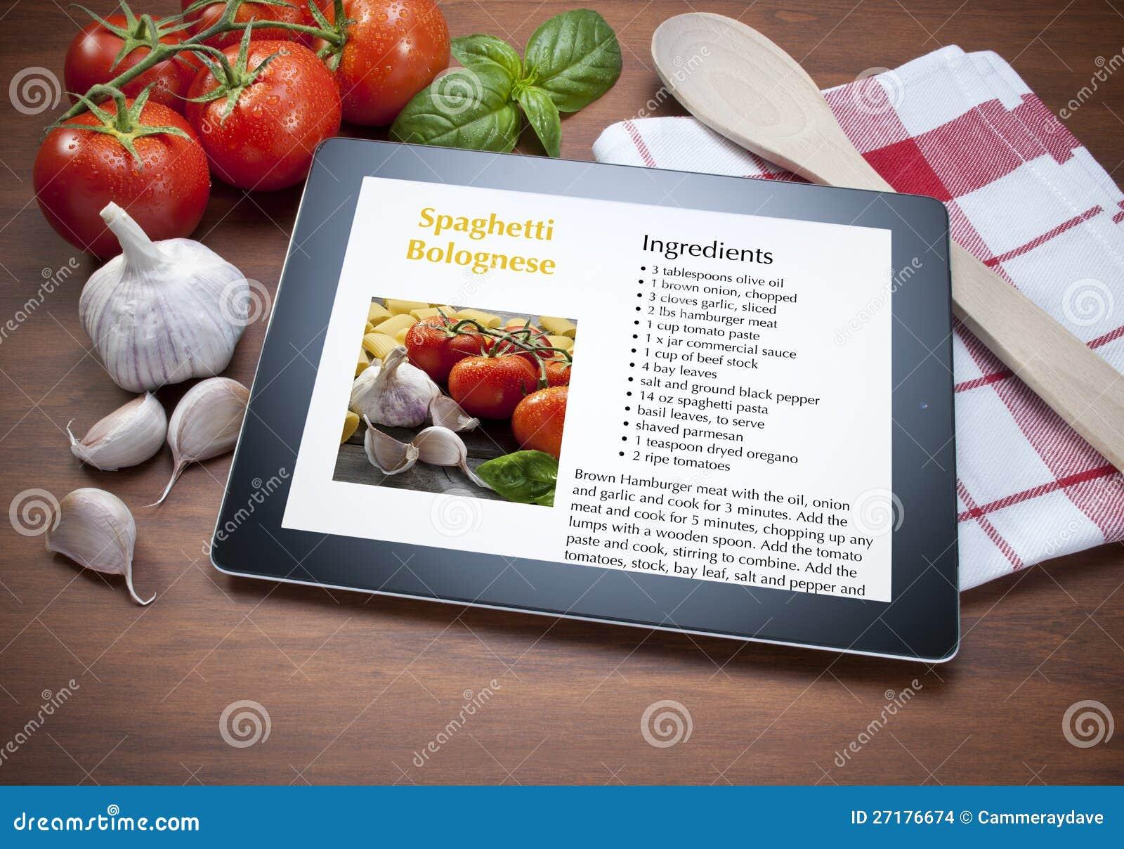 Tablet Spaghetti Italian Food Recipe