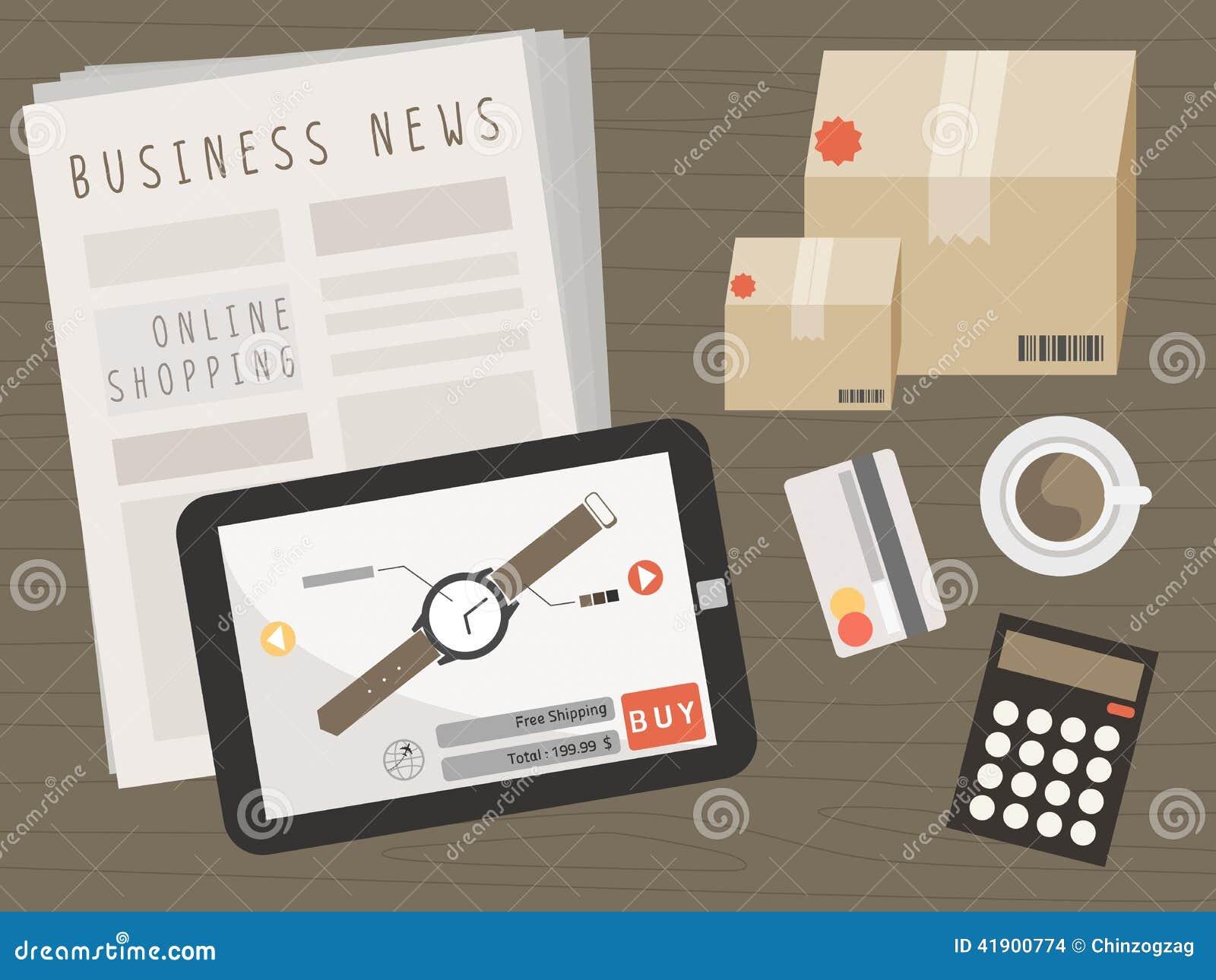 Tableta con los artículos de las compras en concepto en línea de las compras